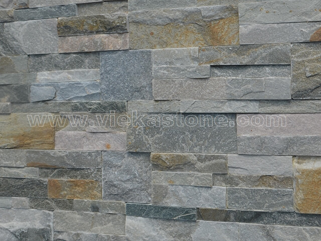 mixed yellow slate culture stone wall panel 35x18cm 4