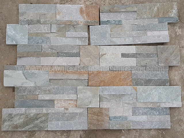mixed yellow slate culture stone wall panel 35x18cm 5