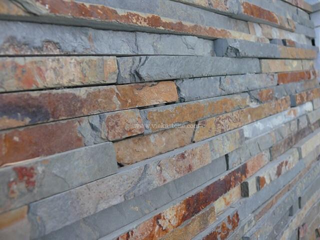 rusty slate stone cladding wall panels waterfall Z shape 2