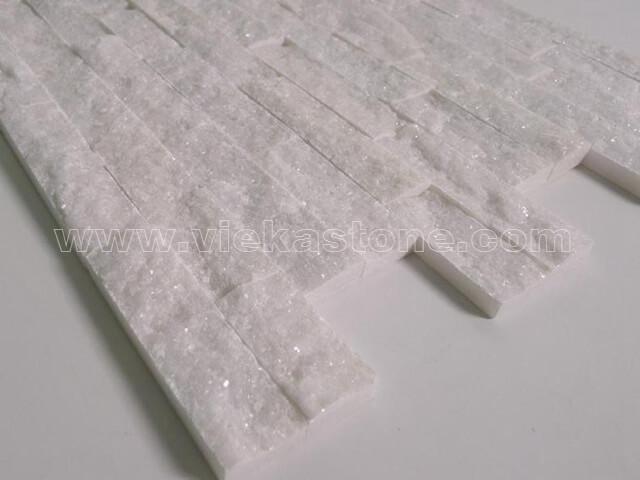 Snow White Quartz Thin Stone Veneer Slim Panel Tp007