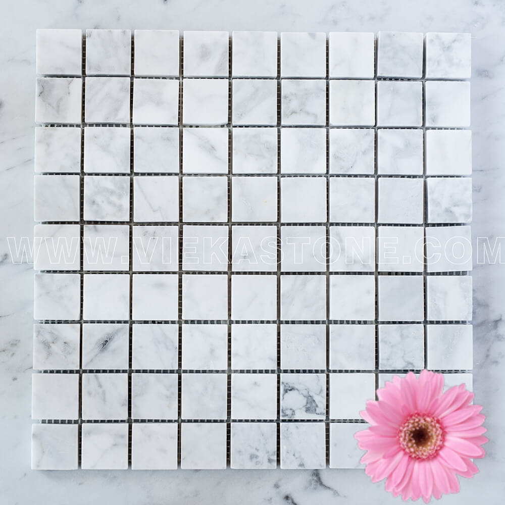 Bianco Carrara White Marble Mosaic Tile 30x30mm Square Polished (1)